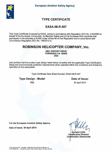 Robinson R66 Turbine  EASA type certification