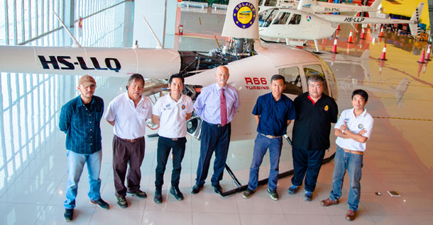Mornington Sanford Aviation and the first R66 in Thailand at Solaire