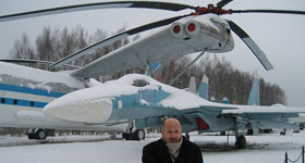 MI-12 (Homer) helicopter and SU-27 Fighter/Interceptor at the Central Air Force Museum at Monino near Moscow, Russia
